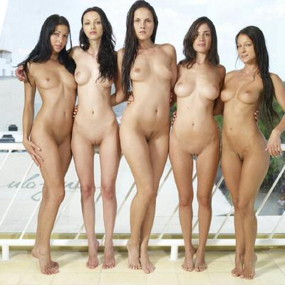 Nude group outdoor